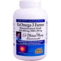 Natural Factors, RxOmega-3 Factors, EPA 400 mg/DHA 200 mg, 240 Softgels