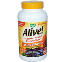 Alive ! Nature's Way, Alive! Whole Food Energizer, Multi-Vitamin, Max Potency, No Iron Added, 180 Tablets